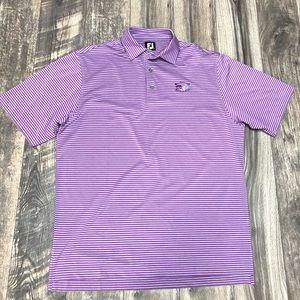 Footjoy FJ purple striped golf polo